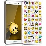 kwmobile Hülle für Huawei P8 Lite (2015) - TPU Silikon Backcover Case Handy Schutzhülle - Cover klar Emoji Design Mehrfarbig Transparent
