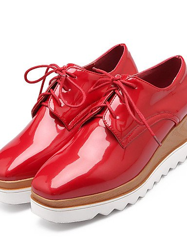 ZQ Scarpe Donna - Stringate - Casual - Creepers / Punta arrotondata - Plateau - Vernice - Nero / Rosso / Bianco , red-us10.5 / eu42 / uk8.5 / cn43 , red-us10.5 / eu42 / uk8.5 / cn43 red-us8 / eu39 / uk6 / cn39