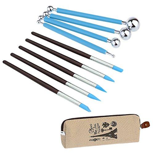 Vier Pinsel (ecjiuyi 9Stylus Werkzeug, 5x Clay Farbe Gestaltung Modellierung Wipe Out Tools Pinsel, Spitze aus Gummi und 4doppelendigen Metall Dotting-Werkzeug mit eine Aufbewahrungsbox)