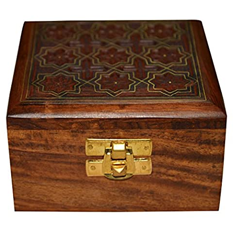 Handmade Jewellery Box Square Shape Wood Carving with Inlay from