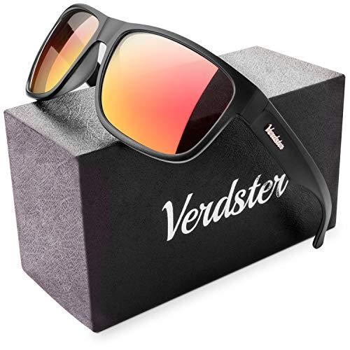 Verdster Polarisierte Sonnenbrillen für Herren und Frauen - Spezielle TourDePro Gläser - Zubehöretui - UV400 Schutz - Ideal für Städtetouren (Schwarz, Orange)