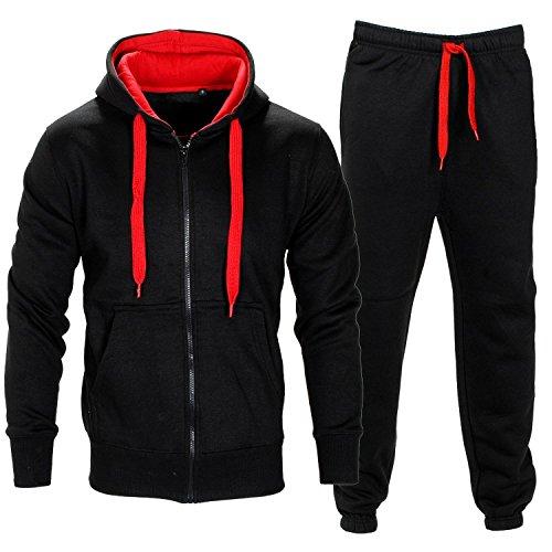 Da uomo Contrasto Corda in pile con cappuccio Top Pantaloni Palestra Jogging Set Tuta Black/Red M