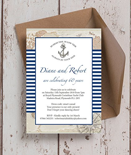zeit Personalisierte Einladungen mit Umschlägen (10Stück) (Nautische Hochzeit Einladungen)