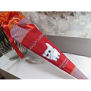 Katze rot-orange Schultüte Stoff + Papprohling als Kissen verwendbar