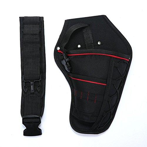 niceEshop(TM), borsa portatile per strumenti elettricista con cintura, con tasca per cacciavite e trapano (nero, tela, 30x 19cm).