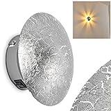 Wandleuchte MEZIA aus Metall in Silber – Runder Wandspot mit Struktur-Effekt für Wohnzimmer, Schlafzimmer, Flur - Wandstrahler G9-Fassung – Glänzende Wandleuchte LED-fähig für drinnen