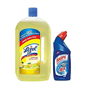 Lizol Disinfectant Floor Cleaner Citrus - 975 ml with Free Harpic Power Plus Toilet Cleaner- 200 ml (Any Variant)