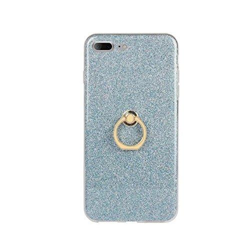 Hülle für iPhone 7 plus , Schutzhülle Für IPhone 7 Plus (5,5 Zoll), Luxus Bling Sparkle Style Case, Soft TPU [Silikon] Flexible Glitter Rückseitige Abdeckung mit Fingerring Stand [Anti Scratch] [Shock Blue