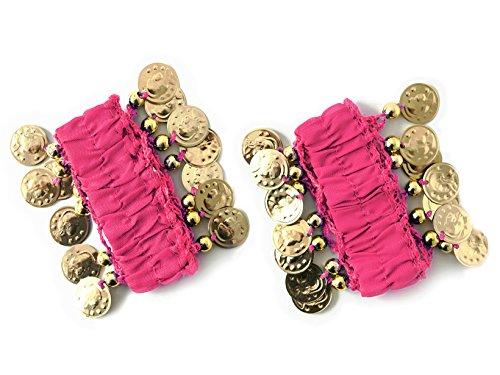 MBW Belly Dance Handkette Armband Handschmuck Armbänder mit goldfarbenen Münzen (Paar) in pink