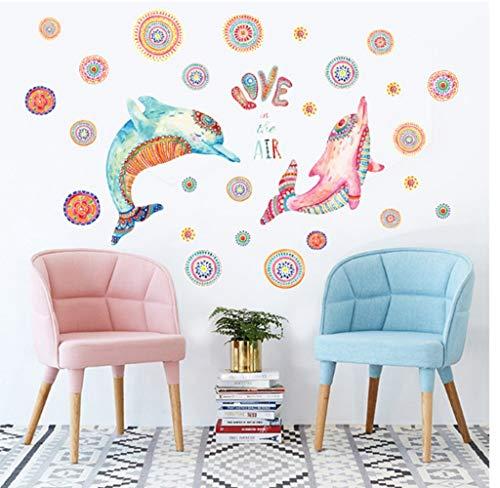 ZBYLL Wall Sticker kreative Paar Dolphin Schlafzimmer Bett Hintergrund Dekorative PVC-Aufkleber