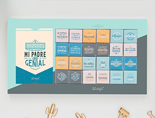 Mr. Wonderful WOA08934ES Chocolatinas-Razones por las Que Mi Padre Es Genial, Chocolate, Multicolor, 36.4x1.5x19.6 cm
