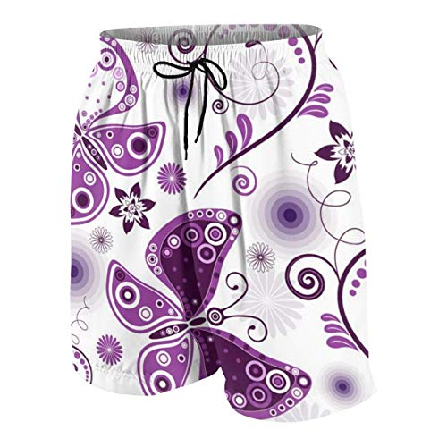 vcbndfcjnd Purple Pattern Butterfly Boys Beach Shorts Quick Dry Beach Swim Trunks Kids Swimsuit Beach Shorts,Boys' Match Play Polo Shorts XL -