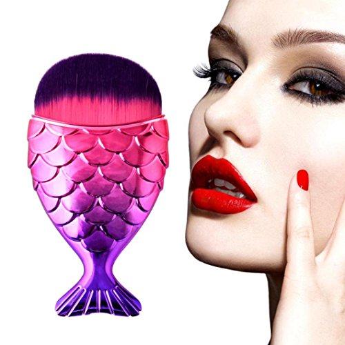 Pinceau Maquillage Professionnel, DIANFR Femme Maquillage Pas Cher Pinceaux, Brosse de Maquillage de Brosse de Fond de Fishtail (Multicolore)