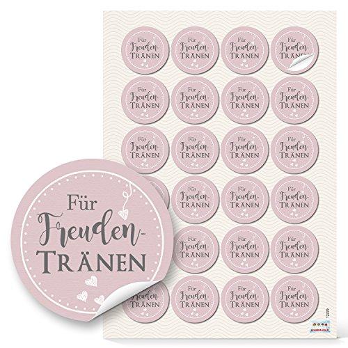 Preisvergleich Produktbild 96 Aufkleber rosa rosé grau weiß - Für Freudentränen - 4 cm Durchmesser (12229)