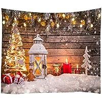 Etopfashion Tapiz de Navidad Fondo de Pared Paño Linterna Estrella Decoración del hogar Toalla de Playa