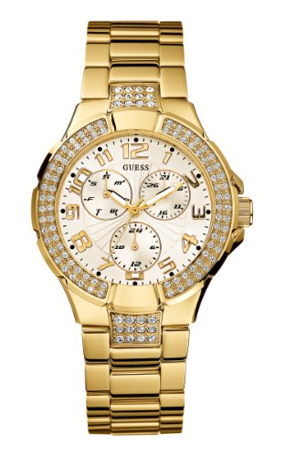 GUESS GOLD WATERPRO G13537L LADIES 41MM GOLD STEEL BRACELET & CASE DATE WATCH