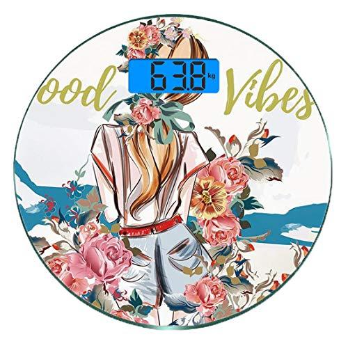 Digitale Präzisionswaage für das Körpergewicht Runde Gute Stimmung Ultra dünne ausgeglichenes Glas-Badezimmerwaage-genaue Gewichts-Maße,Junges Mädchen, das zurück mit blühendem Rosen-abstraktem kunstv -