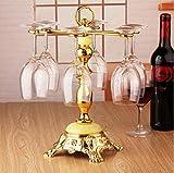 ADHOSJO Estante Creativo del Vino Estante del cubilete del Acero Inoxidable del sostenedor de la Taza del Vino Rojo Estante del Estante del Vino de la Sala de Estar del Estante del Vino,XL