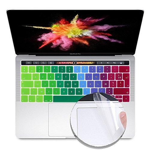 """i-Buy Français Clavier Coque de Protection / Couverture AZERTY pour MacBook Pro 13"""" avec Touch Bar & ID + Protecteur de pavé tactile - Arc en ciel"""