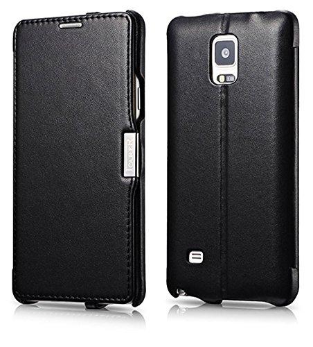 msung Galaxy Note 4 / SM-N910 / Case Außenseite aus Echt-Leder / Innenseite aus Textil / Modell: Luxury / Schutz-Hülle seitlich aufklappbar / ultra-slim Cover / Etui mit Standfunktion / Farbe: Schwarz ()
