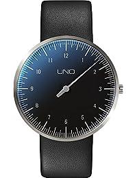 Botta-Design UNO Reloj de pulsera, titanio, esfera negra, correa de piel