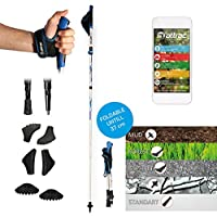 Attrac Nordic Walking/Bastones de trekking plegable ajustable 37–130cm con Sistema Click & Go ultraligeros Incluye Fitness App