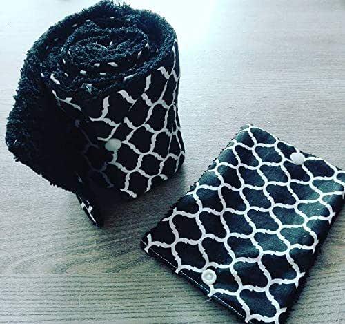 papier toilette lavable, en coton et éponge,zéro déchet, motif noir et blanc, idée cadeau, fait main, zéro waste