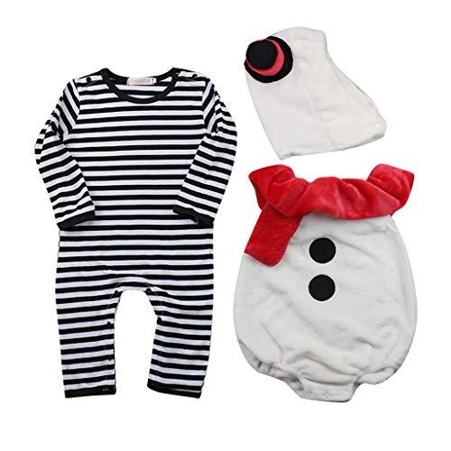 Cuteelf Babyjunge Weihnachten gestreifte Weste Hut Kleidung Anzug Weihnachten Kostüm gestreifte Weste Weste Weihnachten Schneemann Overall 3-teiliges Set