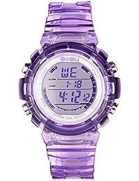 Happy Cherry - Reloj Electrónico LED Sumergible Digital Luminoso con Correa de Caucho para Niñas - púrpura