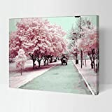 MADE4U Paint By Numbers Kits Canvas Mounted on Wood Frame with Brushes and Paints for Adults Children Seniors Junior DIY Beginner Level Acrylics Painting Kits on Canvas (Cherry Blossom) HHGZG404