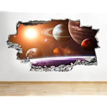 B011Luna Espacio Tierra Planetas Boys Vinilo Adhesivo Para Pared Dormitorio Póster 3d art pegatinas, Large (90x52cm)