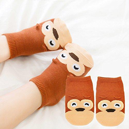 Baby Socks, ASBYFR Animal Printing Cartoon Toddler Sock with Grips Anti-slip Baby Socks Set for Baby Girl Boy - 8 Pairs