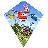 Super Wings 100811 - Super Wings Eddy PE 70 cm - Kinderdrachen Einleiner, ab 5 Jahren, 60 x 70 cm und inkl. 120 cm Drachenschwanz, PE-Folie, 2-4 Beaufort