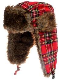 Accessoryo - 58cm Écossais Tartan Rouge Chapka