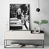baodanla Pas de Cadre Noir et Blanc Célèbre Modèle Photo Vintage Art Déco Murale Brigitte Bardot Affiche Française De Mode Impressions sur Toile40x60cm