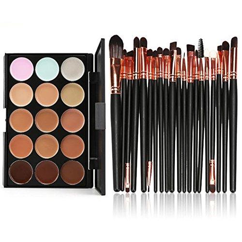 Fami 15 couleurs Contour Crème visage Maquillage Correcteur Palette Professional + 20 Brosse,Or