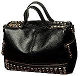 HandbagCrave Dora Leatherette Rivets Shoulder Bag Hobo Bag (Black)