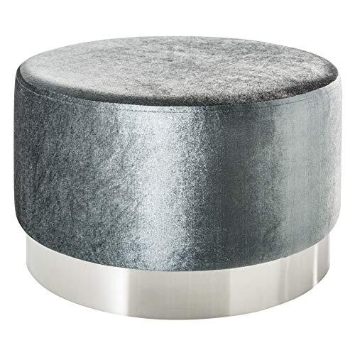 Riess Ambiente Eleganter Couchtisch MODERN BAROCK SAMT Silber Hocker Sitzhocker Fußhocker Tisch...