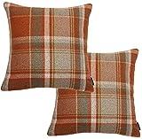 McAlister Textiles Signature Kollektion | 2er Packung Heritage Kissenbezüge im Tartan-Muster Kariert 40cm x 40cm in Terracotta Orange | Deko Kissenhülle für Zierkissen, Sofa, Bett, Couch