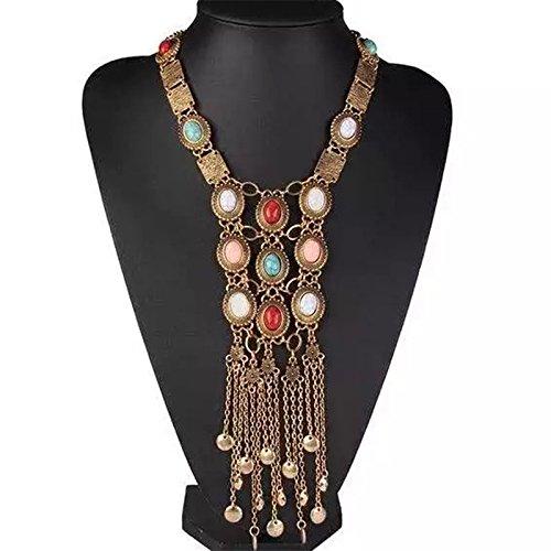 Tpocean Damen Choker Halsband Jahrgang Legierung Bronze Lange Ethnische Tribal Boho Perlen Fransen Halskette Böhmen (Kostüm Designer Definition)