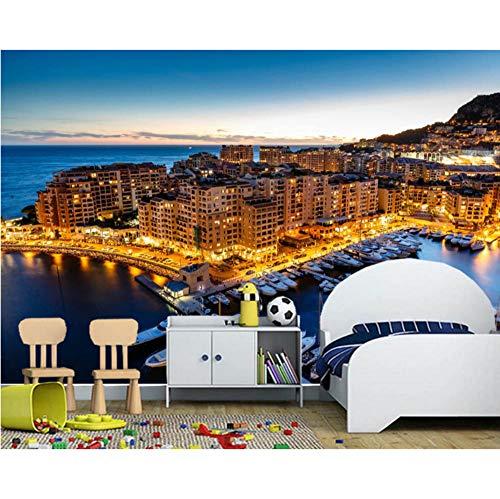 Tapeten Monaco Häuser Gebäude Nachtzeit 3D Tapete, Wohnzimmer Sofa Tv Wand Schlafzimmer Küche Tapeten Wohnkultur (W)250x(H)175cm -