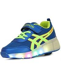 NEWZCERS Unisex adultos niños patines de ruedas zapatos con luz LED solo rueda calzado deportivo