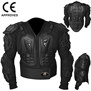 AQWA Motocross Motorbike Body Armour Jacket Motorcycle Protection Guard Jackets Black (XLarge)