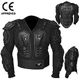 AQWA Motocross Moto chaqueta Armadura para motocicleta, para protección, color negro, mujer hombre, negro, extra-large