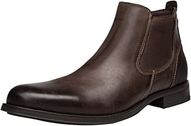 ANUFER Hommes Cool Rétro Cuir Véritable Bottines Chelsea Chaussures Habillées