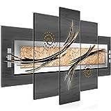 Bilder Abstrakt Wandbild 150 x 100 cm Vlies - Leinwand Bild XXL Format Wandbilder Wohnzimmer Wohnung Deko Kunstdrucke Grau 5 Teilig -100% MADE IN GERMANY - Fertig zum Aufhängen 103953b