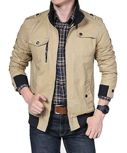 Brinny veste militaire veston blouson Homme Jacket pour automne mince garçon manteau Kaki
