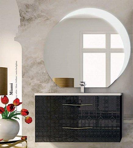 Mobile bagno sospeso moderno floreale miami nero,cm 100, specchio led e lavabo