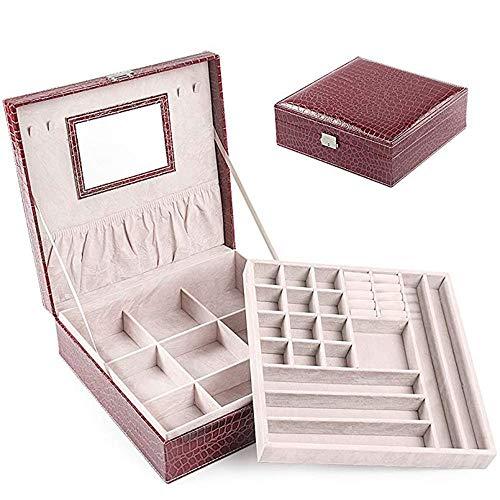 ZOUQILAI Collier européen Double Couche en Cuir PU Grande boîte à Bijoux avec Serrure boîte de Rangement de Bijoux Miroir intégré Grand Jujube Rouge