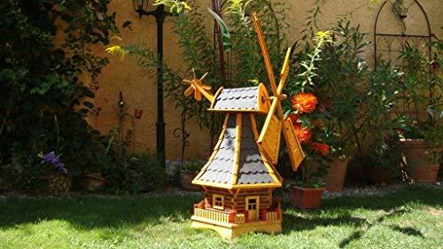 Windmühle 100 cm, wetterfest,robust mit Bitumen, MIT WINDFAHNE Windrad-Seitenruder, Windmühlen Garten, imprägniert + kugelgelagert 1 m groß in schwarz anthrazit dunkelgrau dunkel, mit SOLARBELEUCHTUN